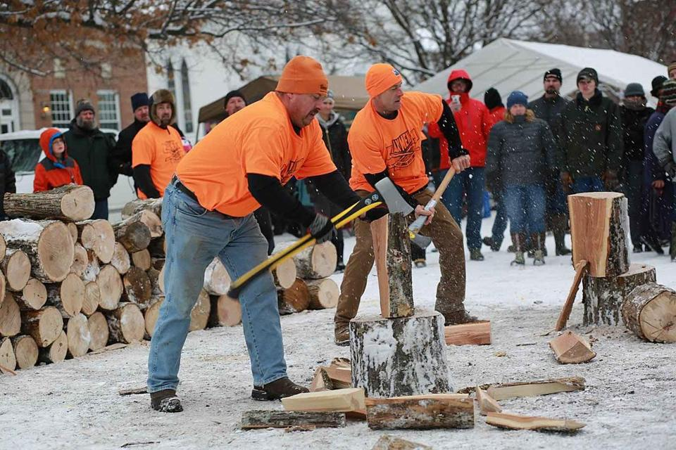 The Axmen woodsplitting competition at the Newport, N.H., Winter Carnival.